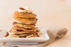 Almond banana pancake. With honey Stock Images