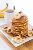 Almond banana pancake. With honey Royalty Free Stock Photo
