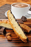 Almond biscotti and hot chocolate Royalty Free Stock Photography