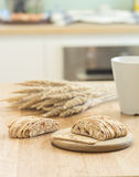 Almond  biscuit cookie on wooden tray Royalty Free Stock Photography