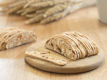 Almond  biscuit cookie on wooden tray Stock Photography
