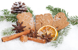 Almond Biscuits. And some spices in a winter landscape stock photography
