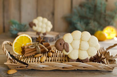 Almond biscuits Lamb with spices Royalty Free Stock Images