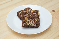 Almond brownie crispy. On wooden table Stock Photography