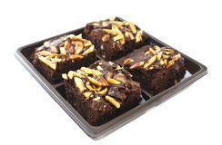Almond brownies. On white background Royalty Free Stock Image