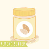 Almond butter in jar. Vector hand drawn illustration Stock Photos