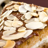 Almond cake. Close up of delicious cake with almonds stock photos