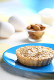 Almond cake. Presentation of Almond Cake with some ingredients Stock Image