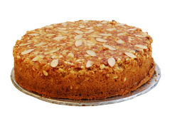 Almond cake. This is a beautiful and tasty almond cake isolated on a white background royalty free stock photo