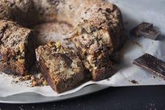 Almond cake with chocolate. Cake chopped almonds with chunks of dark chocolate Stock Photography