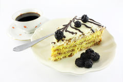 Almond cake and coffee Royalty Free Stock Images