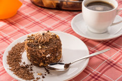 Almond cake and coffee Stock Image