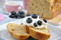 Almond Cake with cream and blueberries Stock Photo