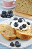 Almond Cake with cream and blueberries Stock Images