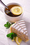 Almond cake and cup of tea Royalty Free Stock Photography