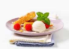 Almond cake with ice cream and raspberries Royalty Free Stock Images