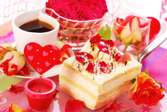 Almond cake in romantic style Stock Image