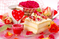 Almond cake in romantic style Royalty Free Stock Image