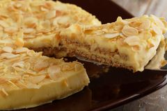 Almond cake. Slice of Swedish almond cake Royalty Free Stock Photos
