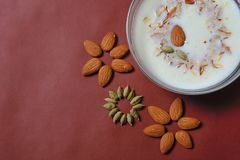 Almond And Cardamom design with sweet dish in bowl stock photo