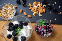 Almond, cashew and cereal flakes for breakfast. Almond, cashew and cereal flakes for healthy breakfast stock image