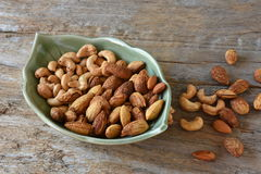 Almond and cashew nuts for snacks. Royalty Free Stock Photography