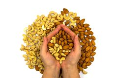 Almond and cashew in woman hands, top view photo. Tasty healthy snack. Scattered nut on table royalty free stock photography