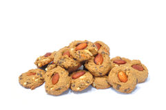 Almond choccolate chip cookies. The scrumptious traditional almond choccolate chip cookies Royalty Free Stock Photos