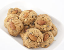 Almond choccolate chip cookies. The scrumptious traditional almond choccolate chip cookies Royalty Free Stock Photo