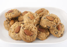 Almond choccolate chip cookies. The scrumptious traditional almond choccolate chip cookies Royalty Free Stock Image