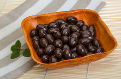 Almond in chocolate Stock Photography