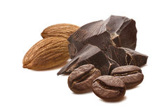 Almond chocolate mocha coffee beans isolated Royalty Free Stock Photo