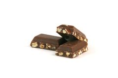 Almond chocolate pieces Stock Photography