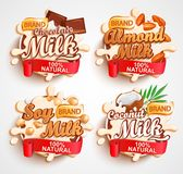 Almond, chocolate, soy, coconut milk labels. Almond, chocolate, soy, coconut milk labels with milky splash. 100 percent natural, organic and fresh healthy drink stock illustration