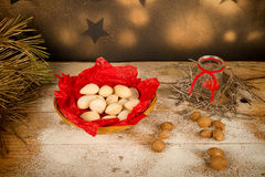 Almond Christmas sweet still life Royalty Free Stock Photo