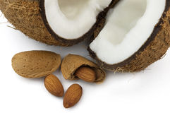 Almond with cocos. Fresh almond with sweet cocos royalty free stock photo