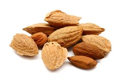 Almond. Composition from Almond nuts on the white  background Royalty Free Stock Image