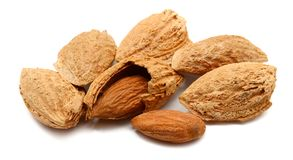 Almond. Composition from Almond nuts on the white  background Stock Photos