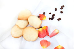 Almond cookies. Freshly baked almond cookies with a coffee beans Stock Photos