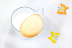 Almond cookies. With a milk Royalty Free Stock Photo