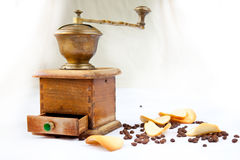 Almond cookies and coffee. Homemade cookies with a coffee beans on a white background Royalty Free Stock Photos