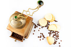 Almond cookies and coffee. Homemade cookies with a coffee beans on a white background Royalty Free Stock Photo