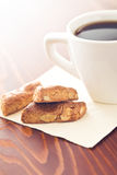 Almond cookies and coffee Royalty Free Stock Photography