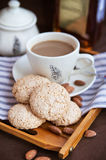 Almond cookies and cup of coffee Royalty Free Stock Photo