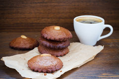 Almond cookies cup of coffee Royalty Free Stock Photo