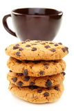 Almond cookies and a cup of coffee closeup. Stock Image