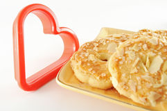Almond Cookies and Heart Stock Images