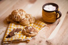 Almond cookies on light wood table Royalty Free Stock Image