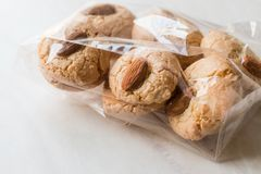 Almond Cookies in Package / Acibadem Kurabiyesi. Bakery in Plastic Box Royalty Free Stock Photo