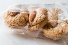 Almond Cookies in Package / Acibadem Kurabiyesi. Bakery in Plastic Box Royalty Free Stock Image